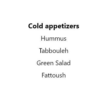 Cold appetizers